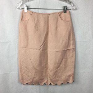 Ava & Aiden Pink Linen Pencil Skirt Sz 4